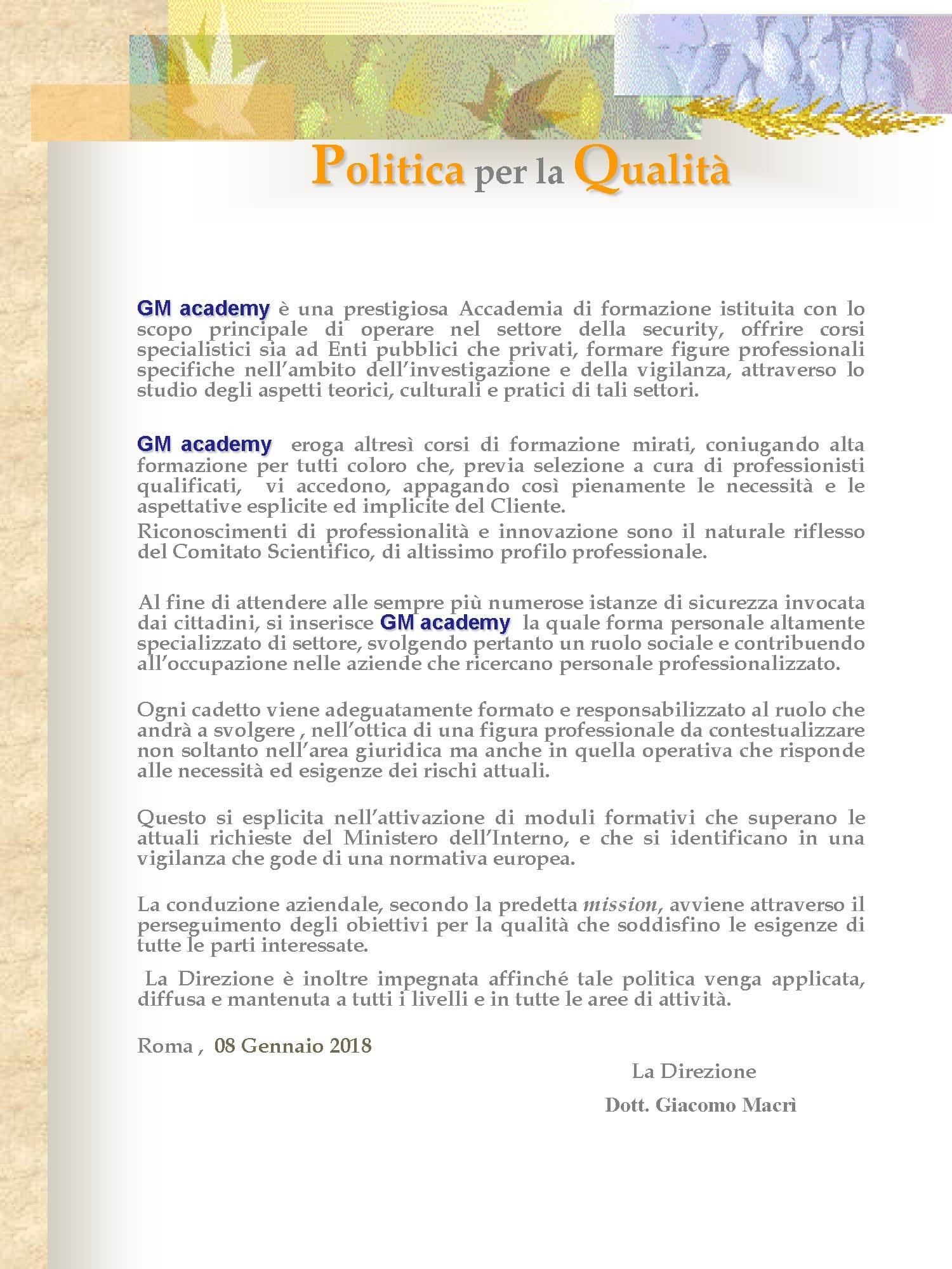 Politica Qualita GM academy 2018