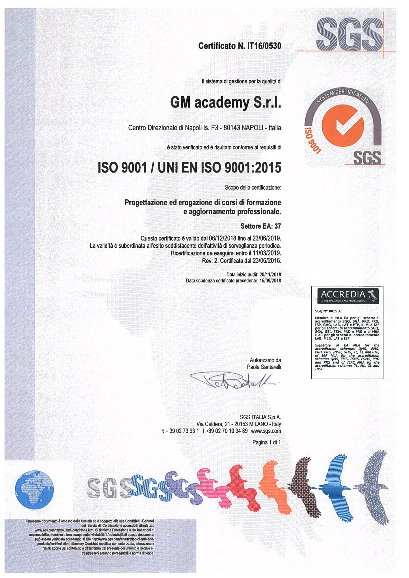 Certificato qualità SGS GM academy - 2018